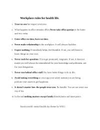 Workplace rules for health life