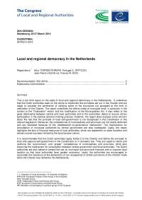 Local and regional democracy in the Netherlands