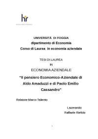 Pensiero Economico-Aziendale di A.Amaduzzi e P.E.Cassandro