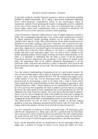 Bitcoin Summary :  An Essay