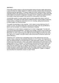 Photocvoltaic Performance Test Lab Report