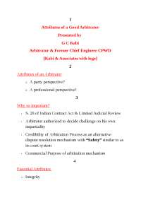 Attributes of a Good Arbitrator