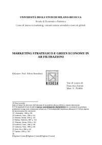 Marketing strategico e green economy