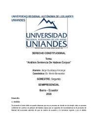 Habeas Corpus Analisis