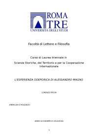L'esperienza odeporica di Alessandro Magno - Tesi triennale di Lorenzo Proia (2015-2016)