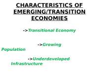 charachterstics of Emerging / transition economies