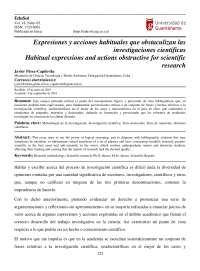 Expresiones y acciones habituales que obstaculizan las investigaciones científicas
