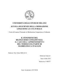 IL FENOMENO DEL BILINGUISMO CONSAPEVOLE: L'APPRENDIMENTO DEL TEDESCO DA PARTE DI MADRELINGUA ITALIANI