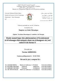 Mémoire présenté en vue de l'obtention  du diplôme de:  Magister en Génie Mécanique