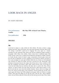 """An analysis of the realistic play """" Look back in anger"""""""