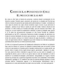 SISTEMA PENSIONAL EN CHILE