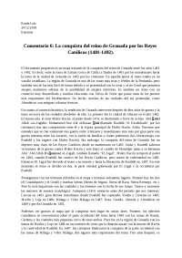 Comentario 6: La conquista del reino de Granada por los Reyes Católicos (1481-1492).