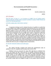 Solutions to the Assignments on Environmental and Health Economics