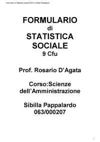 Formulario Statistica sociale - Prof. D'Agata