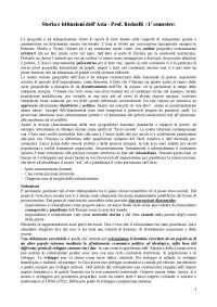 Storia e istituzioni dell'Asia - Prof. Redaelli: Appunti lezione integrati