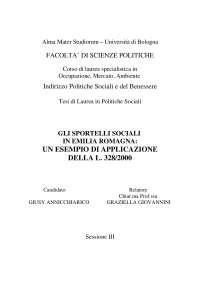 GLI SPORTELLI SOCIALI  IN EMILIA ROMAGNA:  UN ESEMPIO DI APPLICAZIONE  DELLA L. 328/2000