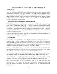 RISK MANAGEMENT-A CASE STUDY OF BARCLAYS BANK Plc