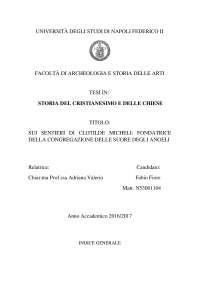 SUI SENTIERI DI CLOTILDE MICHELI: FONDATRICE DELLA CONGREGAZIONE DELLE SUORE DEGLI ANGELI