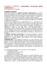 """Riassunto COMPLETO de """"Shareable! L'economia della condivisione."""" a cura di Tiziano Bonini e Guido Smorto"""