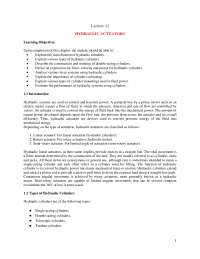 Hydraulic actuators lecture material