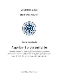 Algoritmi i programiranje, skripta za teorijski deo ispita, Elektronski fakultet u Nišu