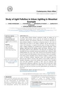 Study of Light Pollution in Urban Lighting in Nisantasi Example