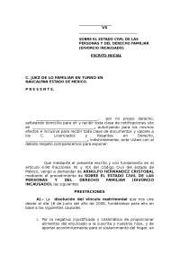 Modelo demanda divorcio encausado, Tesinas de Diritto Processuale Penale