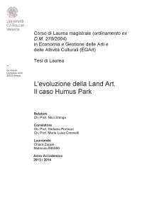 Tesi evoluzione della Land Art
