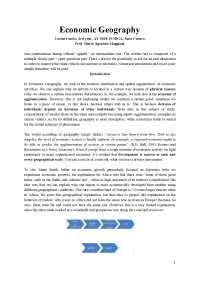Economic Geography (M. Maggioni)