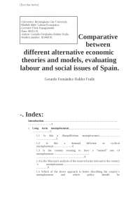 Comparative between different alternative economic theories and models, evaluating labour and social issues of Spain.