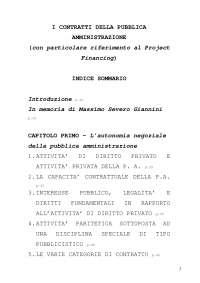indice di tesi sui contratti pubblici in relazione al diritto comunitario