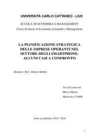 La pianificazione strategica delle imprese operanti nel settore degli Smartphone: alcuni casi a confronto