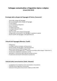 Psicologia dello sviluppo del linguaggio - I disturbi del linguaggio - I disturbi della comunicazione (Unipd 2018-2019)