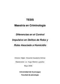 Diferencias en el Control Impulsivo en Delitos de Robo y Robo Asociado a Homicidio