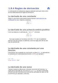 Derivadas -Reglas de derivadas básicas