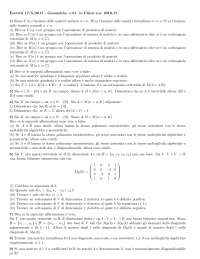 Esercitazioni algebra lineare
