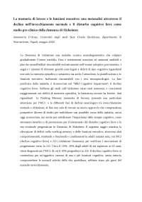Saggio scientifico working memory esame Brandimonte