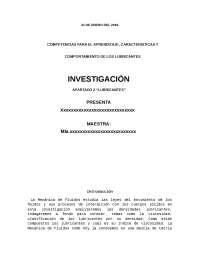 COMPETENCIAS PARA EL APRENDIZAJE, CARACTERISTICAS Y   COMPORTAMIENTO DE LOS LUBRICANTES.