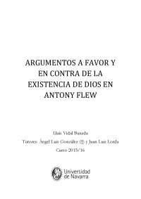 ARGUMENTOS A FAVOR Y EN CONTRA DE LA EXISTENCIA DE DIOS EN ANTONY FLEW