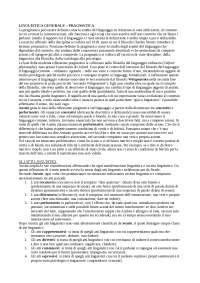 Elementi di Pragmatica (Austin, Searle, Wittgenstein, Grice, Jakobson, Halliday, Dell Hymes) - Linguistica generale