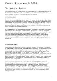 Le 3 tipologie dei testi scritti dell'esame di 3 media