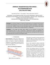energia transportada por ondas electromagneticas