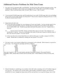 Corporate Finance Additional Practice Problems for Mid-Term Exam 1