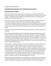 PROVA IN ITINERE epistemologia pedagogic