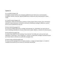 Esercizi capitolo 18 Marketing