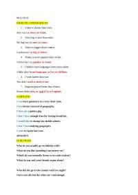 Appunti lezione di inglese