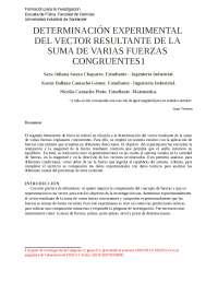 DETERMINACIÓN EXPERIMENTAL DEL VECTOR RESULTANTE DE LA SUMA DE VARIAS FUERZAS CONGRUENTES