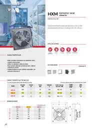 extractor axial s&p, gama de extractores axiales para aplicación en muro, ha sido estructurada en tres diámetros normalizados 200, 250 y 350 mm.