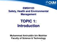 EMSH103 Safety, Health and Environmental Management