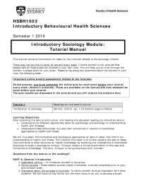 HSBH1003 Tutorial manual Sociology